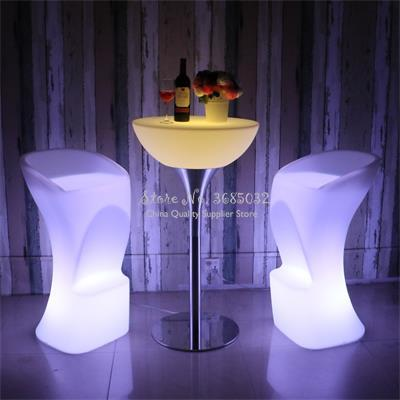 Bar LED Table Rechargeable Cordless Decorative Light Luminous Stool With 7 Colors Remote Control 60x60x56cm