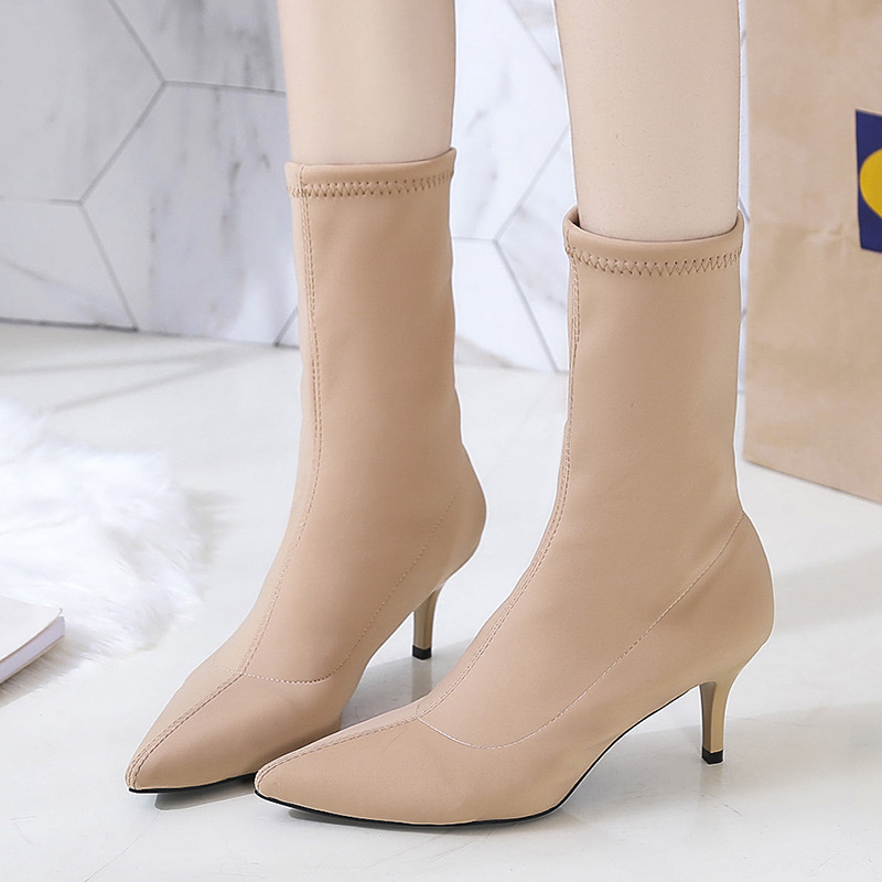 Online Celebrity Tube Elasticity Thin Boots Red Socks Boots Women's Pointed Toe Thin Heeled Autumn And Winter High Heel Shoes Th