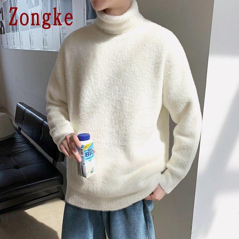 Zongke однотонный пуловер, белая водолазка мужская одежда белый свитер мужской зимний кофта мужская водолазка хлопок водолазки мужские пиджаки мужской свитер куртка мужская зимняя мужское пальто кофты M 2XL, осень 2020|Bодолазки| | АлиЭкспресс