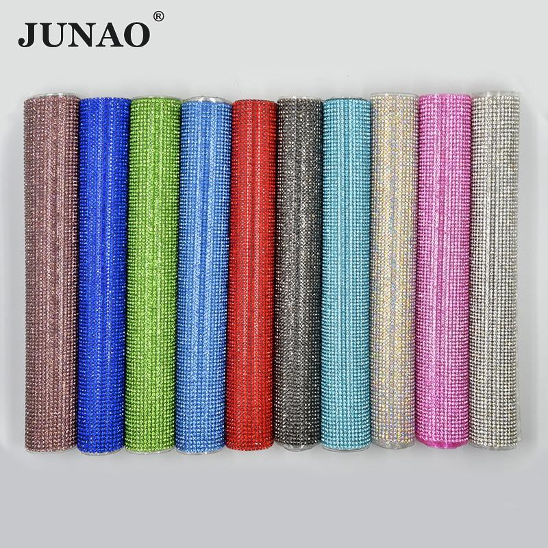 JUNAO 24*40cm תיקונים צבעוני Rhinestones בד גיליון זכוכית קריסטל לקצץ יהלומי רשת Strass אפליקציות עבור שמלת תכשיטים ביצוע