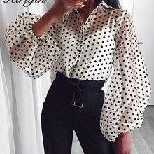 Новинка, Женская сетчатая прозрачная блузка, прозрачная, фонарь, длинный рукав, блузка, модная, жемчужная пуговица, прозрачная белая рубашка, женские блузы