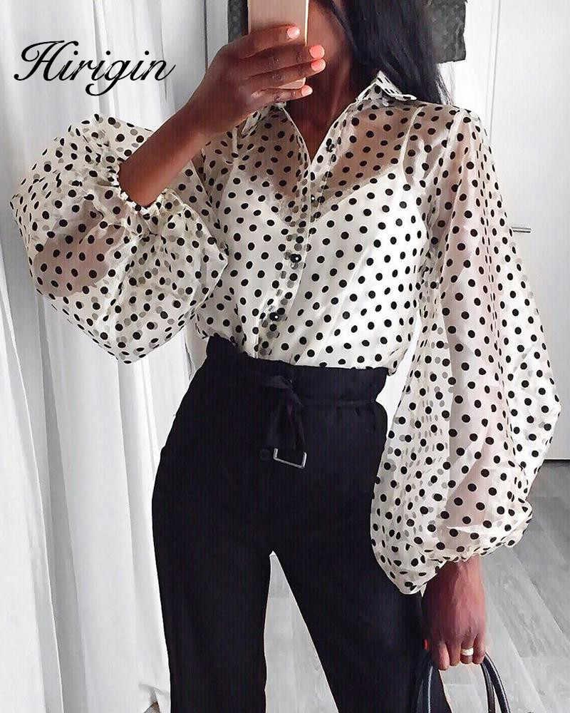 جديد إمرأة شبكة شير بلوزة انظر من خلال فانوس كم طويل بلوزة موضة زر من اللؤلؤ قميص أبيض شفاف الإناث Blusas