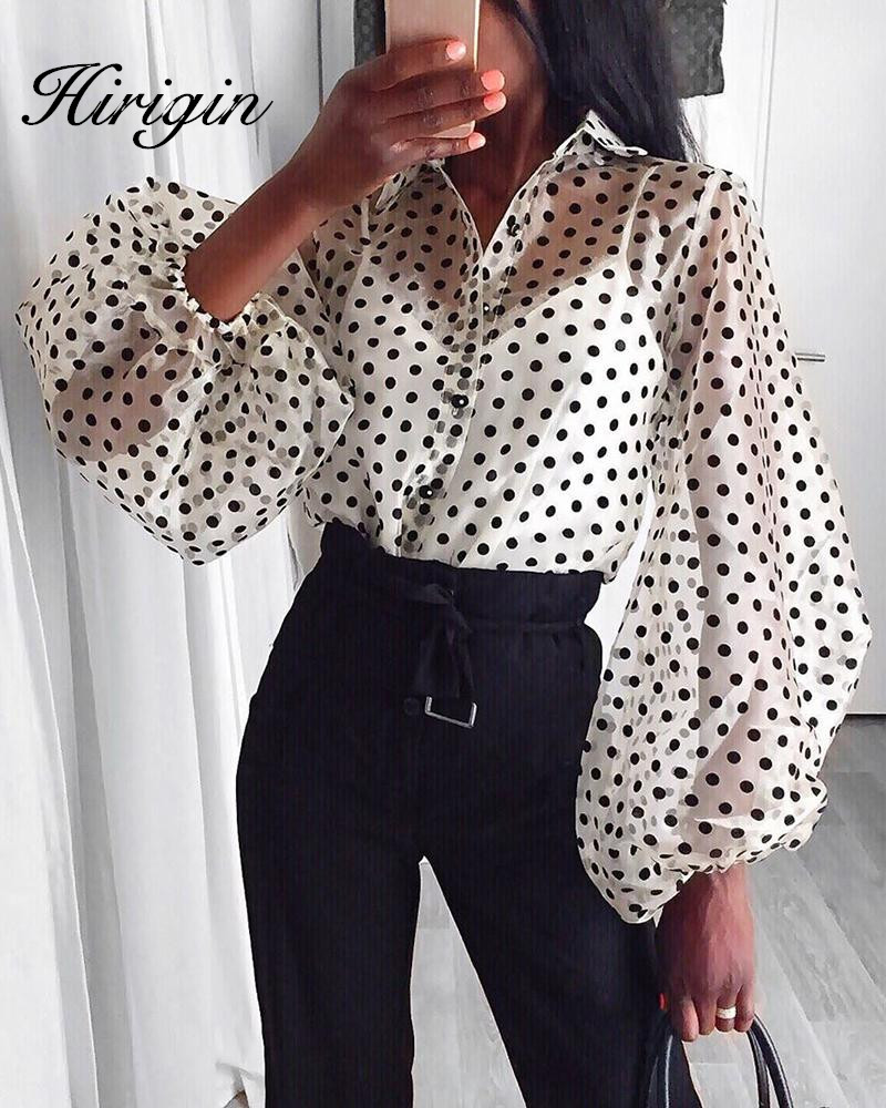New Women Mesh Sheer Blouse See through Lantern Long Sleeve Blouse Fashion Pearl Button Transparent White