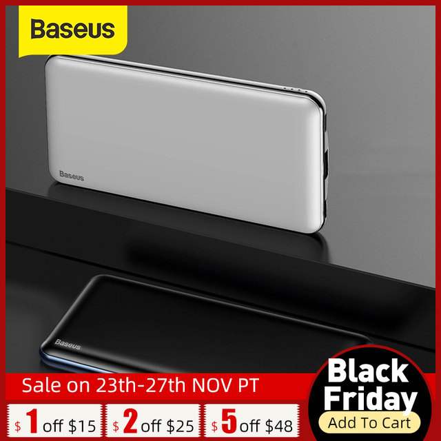 "Baseus 10000mAh פ""ד מהיר תשלום כוח בנק 3A מהיר טעינה Ultra Slim כוח בנק USB סוג C מטען עבור iPhone X 8 7 Xiaomi MI"