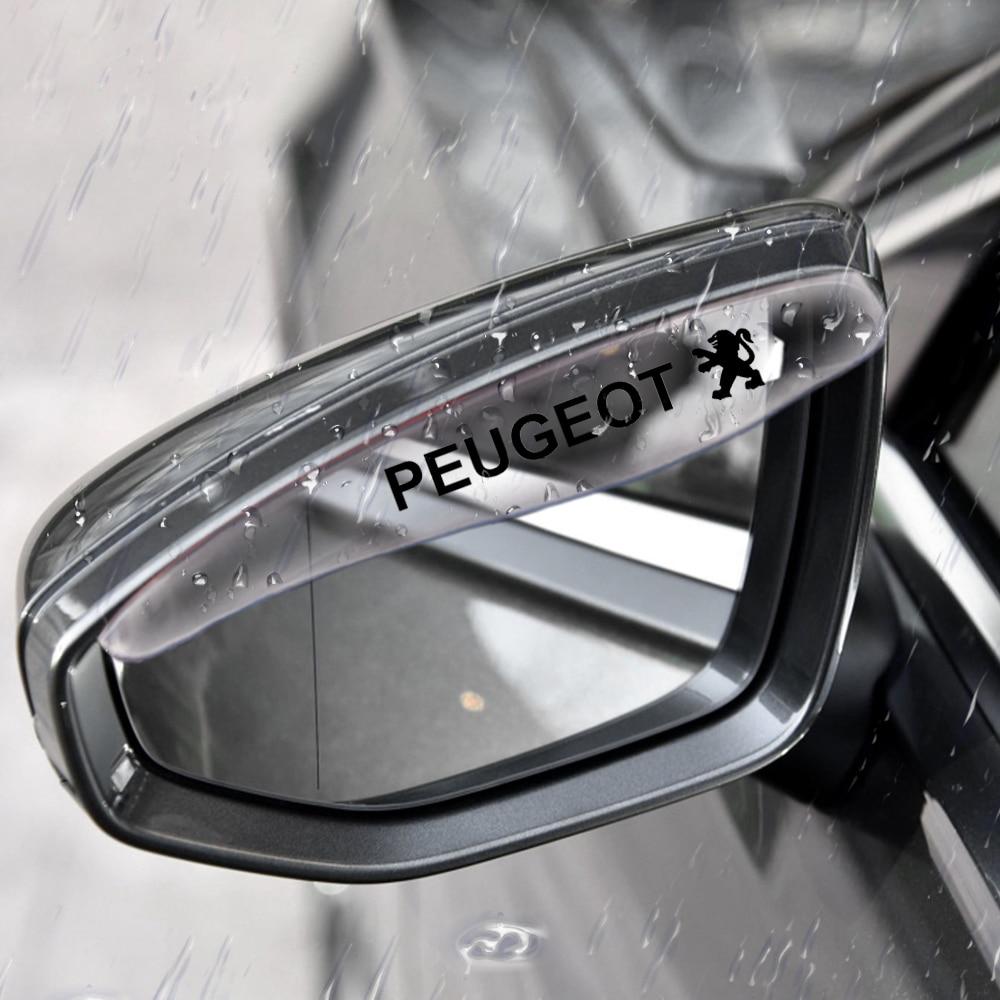 2 uds coche-estilo lluvia frente para Peugeot 206, 207, 2008, 301, 307, 308, 3008, 407, 408, 4008, 508, 5008, 607, 806, 1007 accesorios de coche
