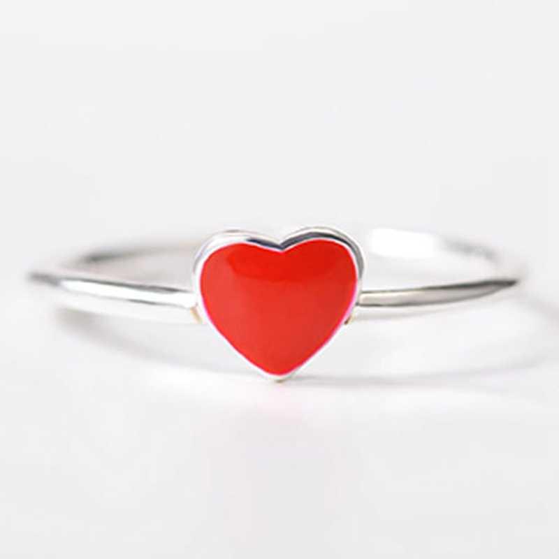 الحد الأدنى الفضة اللون قليلا الأحمر القلب حلقة مفتوحة لطيف الأزياء الحب مجوهرات للنساء فتاة الطفل هدايا قابل للتعديل