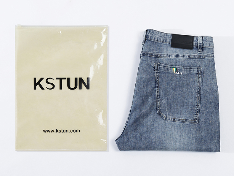 KSTUN Mens Jeans Brand Elastic Retro Blue 2020 Summer Ultrathin Business Casual Slim Straight Man Long Trousers Cowboys Hombre 21