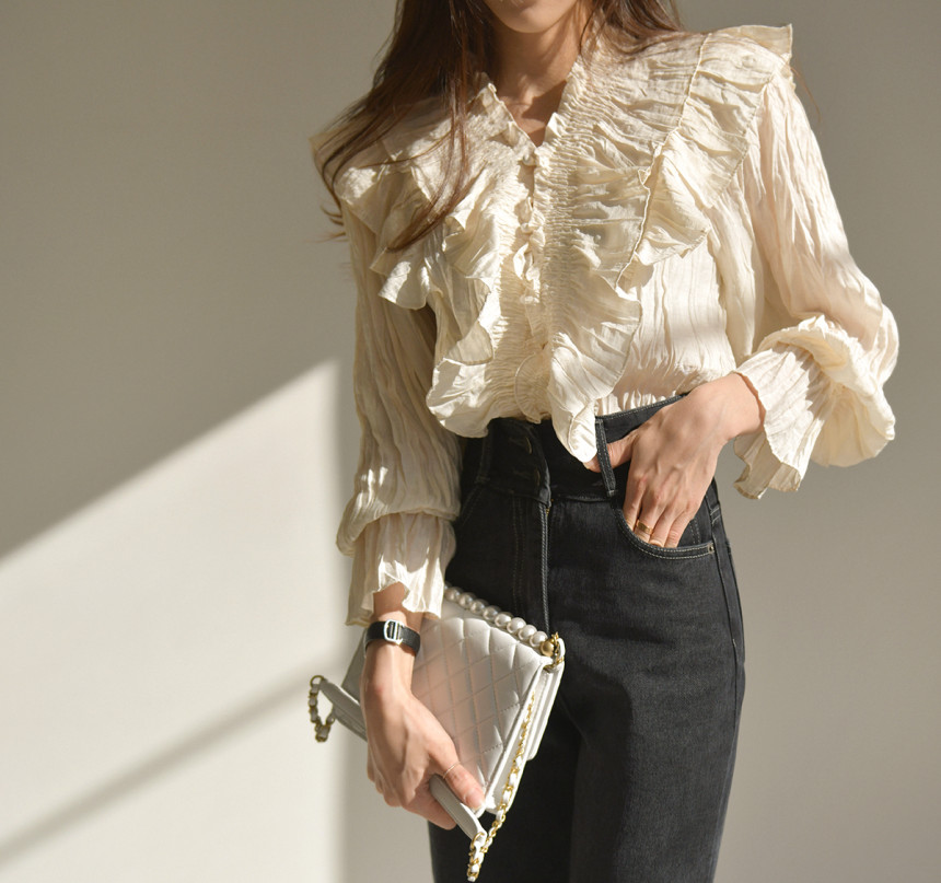 H6fb5bb80faa94e2f9e8bf8e0992bfcd3c - Spring / Autumn V-Neck Long Sleeves Ruffles Pleated Solid Blouse