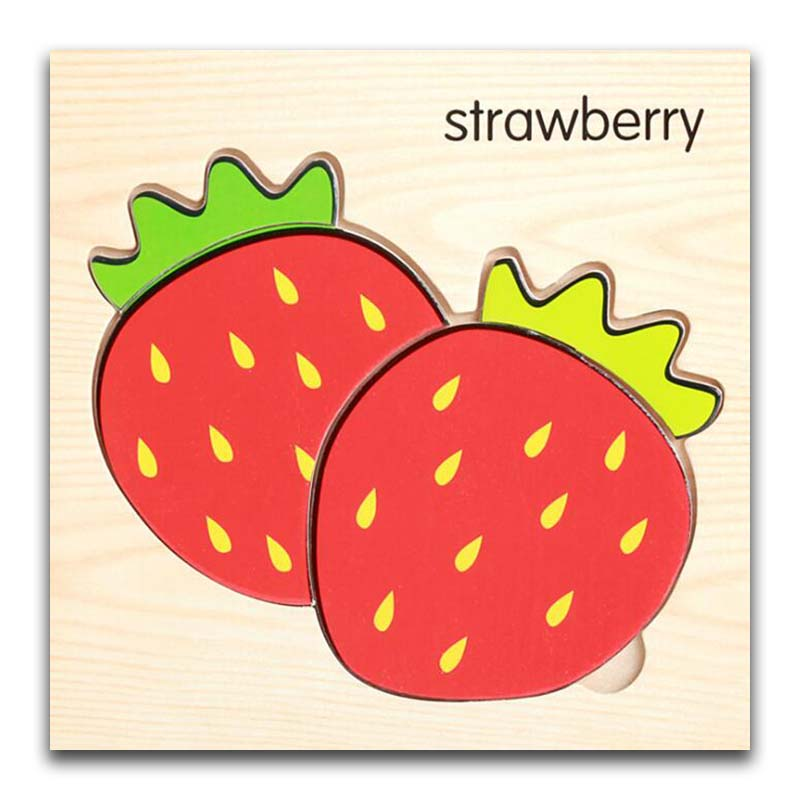 Cartoon Strawberry Wooden Animal Transportation 3d Puzzle Jigsaw Wooden Toys For Intelligence Kids Baby Early Educational Toy