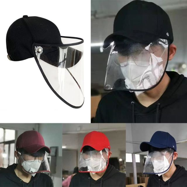 Unisex Anti-Spitting Splash Protective Baseball Cap Anti-Fog Saliva Dustproof Detachable Face Shield Mask Adjustable Hat