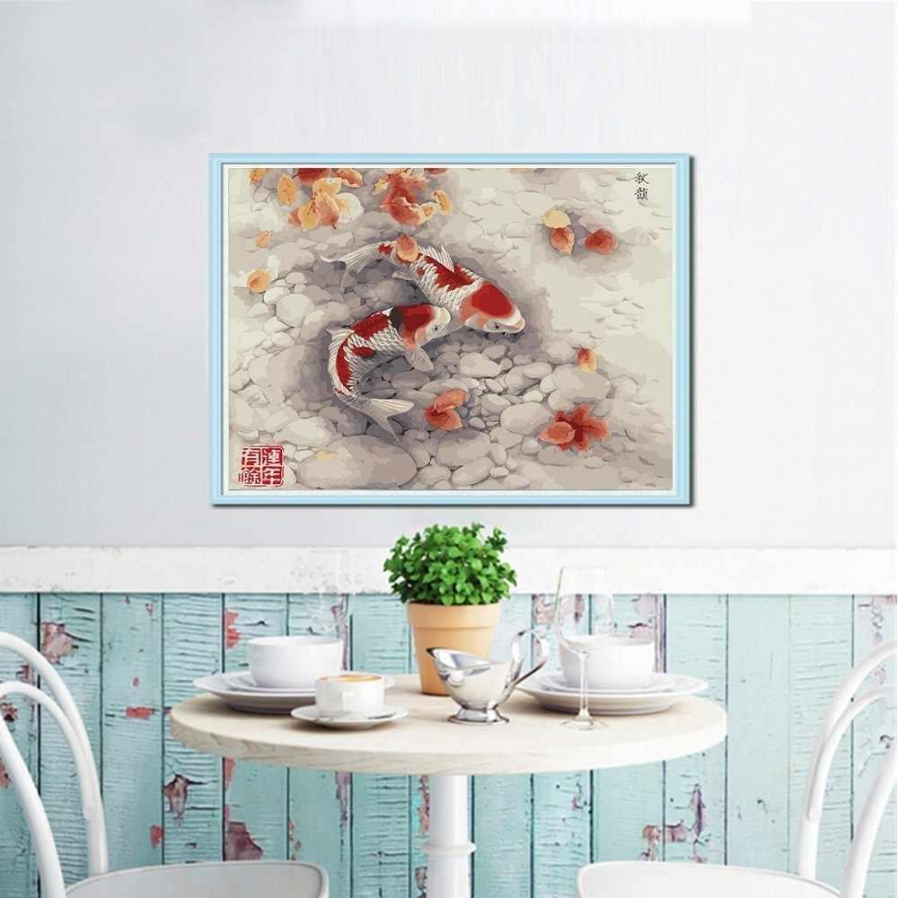 Azqsd 5D Lukisan Berlian Ikan Persegi Gambar Rhinestones Menjahit Diamond Bordir Binatang Dinding Dekorasi DIY