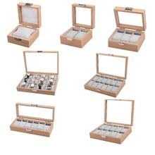 Drewniane pudełko na zegarek 2 4 6 8 10 12 siatki organizator przechowywanie na zegar wystawka do prezentacji zegarków pojemnik do przechowywania pudełka na biżuterię najlepszy prezent tanie tanio CN (pochodzenie) Pudełka do zegarków Moda casual 0 00cm Nowy bez tagów Z-0201 Rectangle 3 3cm 8 2cm Drewna 13 6cm Mieszane materiały