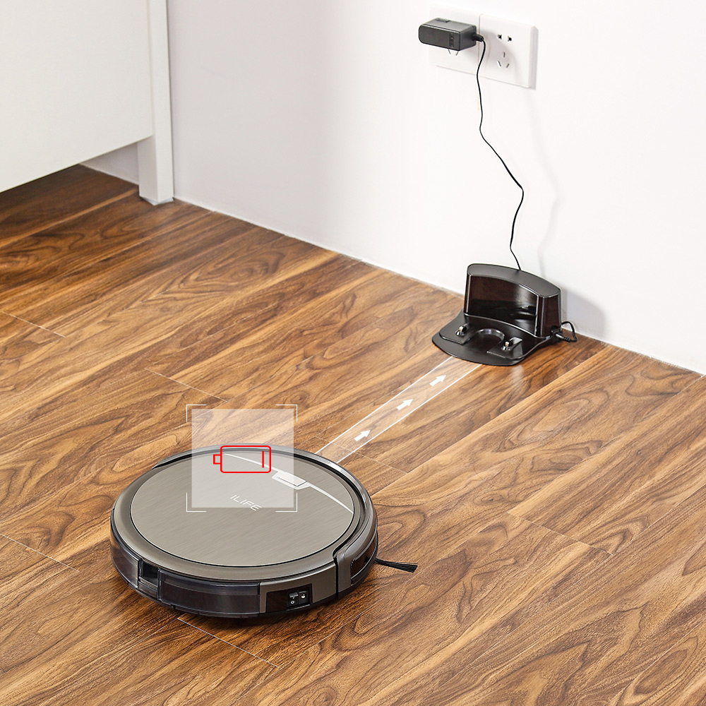 ILIFE A4s Robot Vacuum Cleaner Powerful Suction for Thin Carpet Hard Floor Large Dustbin Miniroom Function ILIFE A4s Robot Vacuum Cleaner Powerful Suction for Thin Carpet & Hard Floor Large Dustbin Miniroom Function Automatic Recharge
