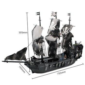 1184 Uds. Piratas Kingdom, barco de Perlas Negras, 87010 conjuntos de bloques de construcción DIY, bloques, Barco Pirata, juguetes educativos para niños