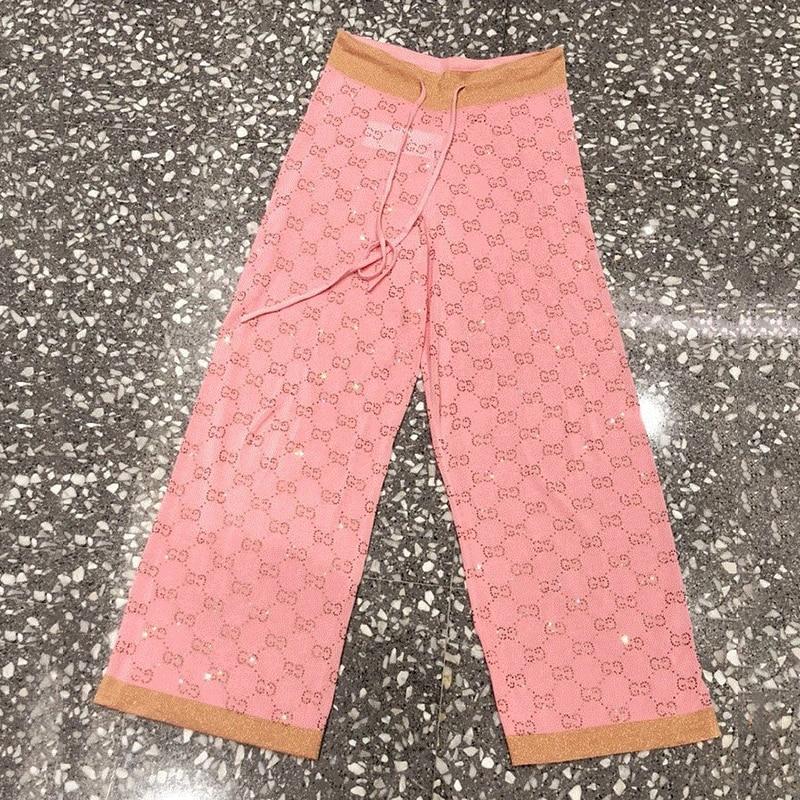 2019 Autumn Silk High Waist   Wide     Leg     Pants   Thin Crystale Studded Knit Trousers Large Size Soft SweatPants Women