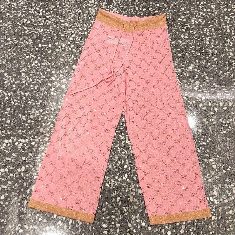 2019 automne soie taille haute jambe Large pantalon mince cristale clouté tricot pantalon grande taille doux pantalons de survêtement femmes