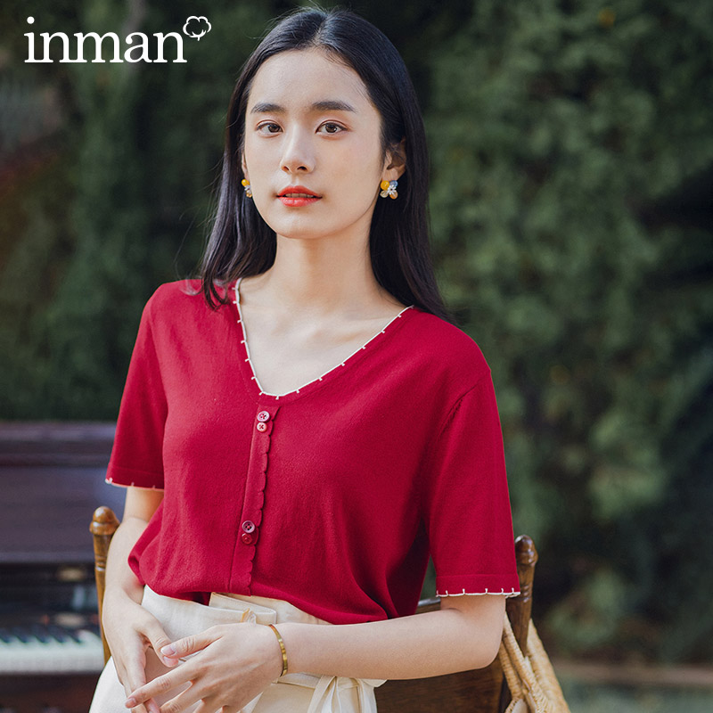 INMAN Retro Style 2020 Summer New Arrival V-neck Cute All-match Short Sleeve Knitwear