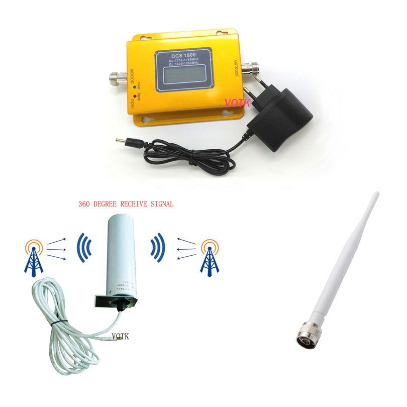 VOTK 2G 4G Signal  Booster 70dBI 4g Lte 1800MHZH Mobile Phone Signal Repeater DCS 4G  Signal Amplifier WITH Omni Antenna