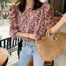 New Women Summer Shirts Floral Printing Long Sleeve Lady