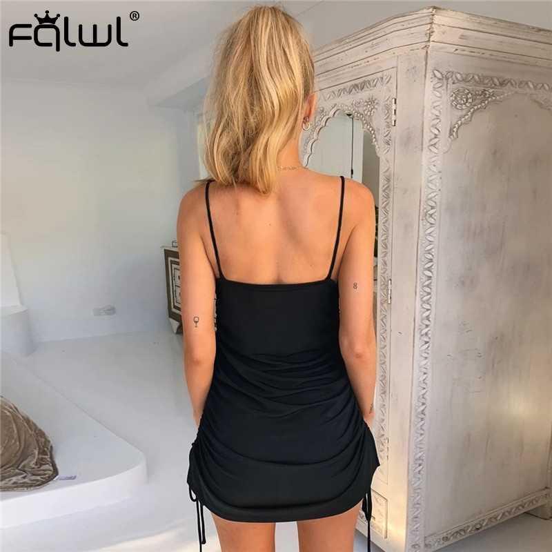 FQLWL кружево вверх Бандажное плиссированное платье для женщин Спагетти ремень красный черный открытая спина сексуальное облегающее платье для ночного клуба короткие платья для вечеринок