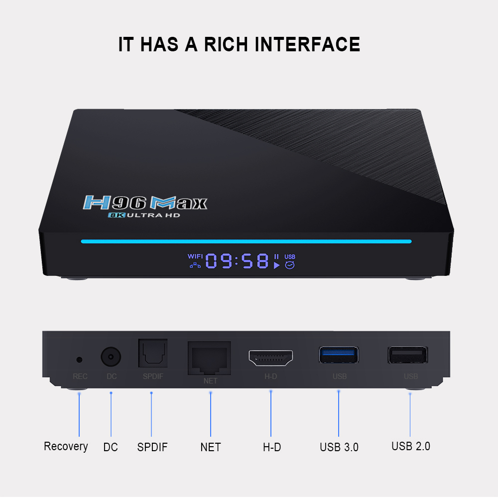 E-india h96 max rk3566 2021 8gb ram android 11 new smart tv box android 11 2.4g 5g wifi 4gb 8gb 32gb 64gb h96max 8k tv box android 11.0