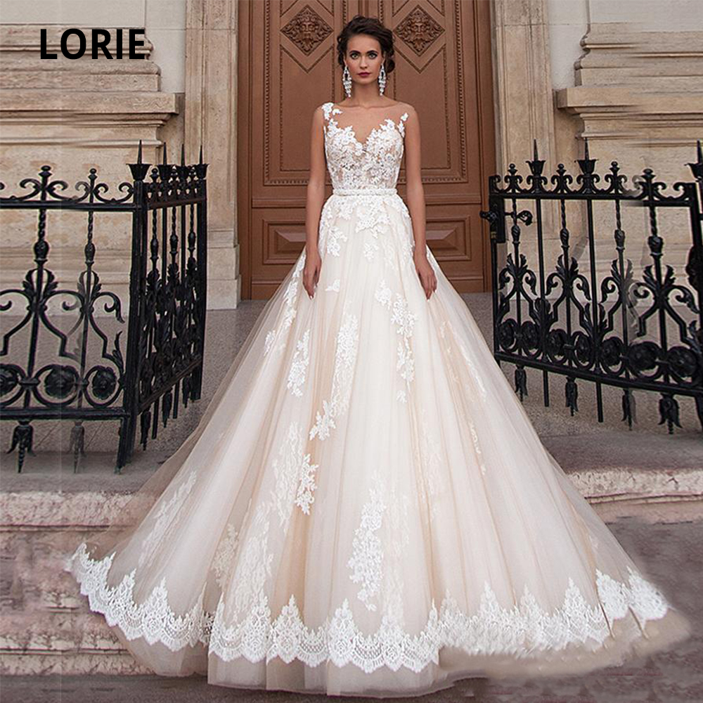 LORIE 2020 Sheer Scoop Neckline Champagne Ball Gowns Wedding Dresses Elegant Lace Appliques Illusion Back Bridal Gowns Plus Size