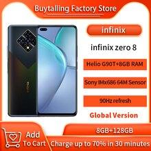 100% Original Infinix Zero 8 Global Version MobilePhone 6.85 inch 90Hz Helio G90T Octa Core 8GB 128GB 33W Super Charge