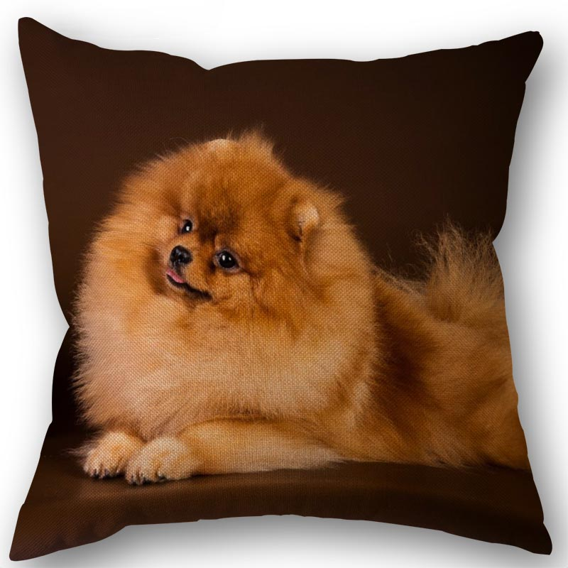 New Custom Pomeranian Dog Pillowcase Cotton Linen Fabric Square Zipper Pillowcase 45X45cm Wedding Decorative Pillow Cover