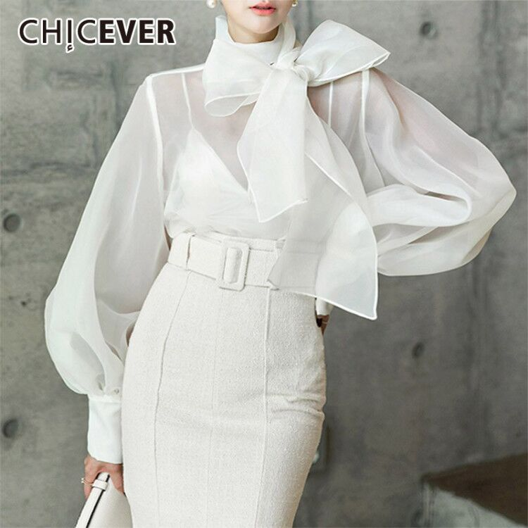 CHICEVER Autumn Casual Chiffon Perspective Women Shirt Lace Up Bow Collar Lantern Sleeve Loose Slim Female Top Clothing 2019 New