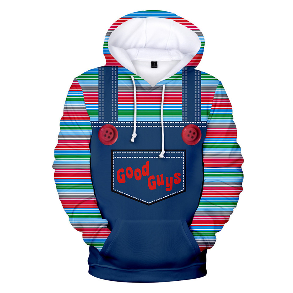 New Movie Child's Play Hoodie Sweatshirts Cosplay Costume Seed Of Chucky 3D Print Coat Tracksuits Jackets Hooded Sweater Men Boy