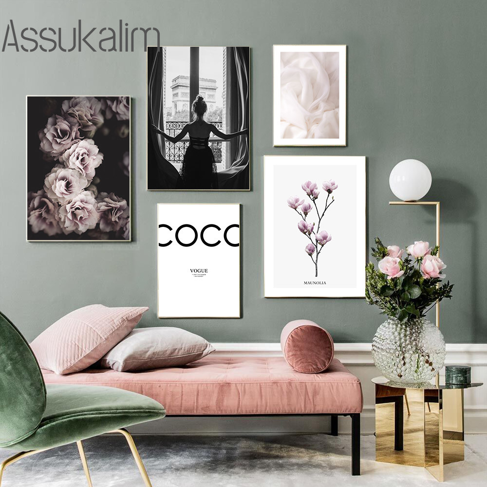 Модный плакат с цветами, настенный художественный плакат на холсте, черно-белый плакат с изображением девушки на спине, художественные прин...