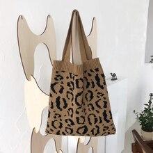 Bolso de hombro con estampado de leopardo para mujer, bandolera femenina de estilo coreano con estampado Animal, bolsa media de lana, 2020