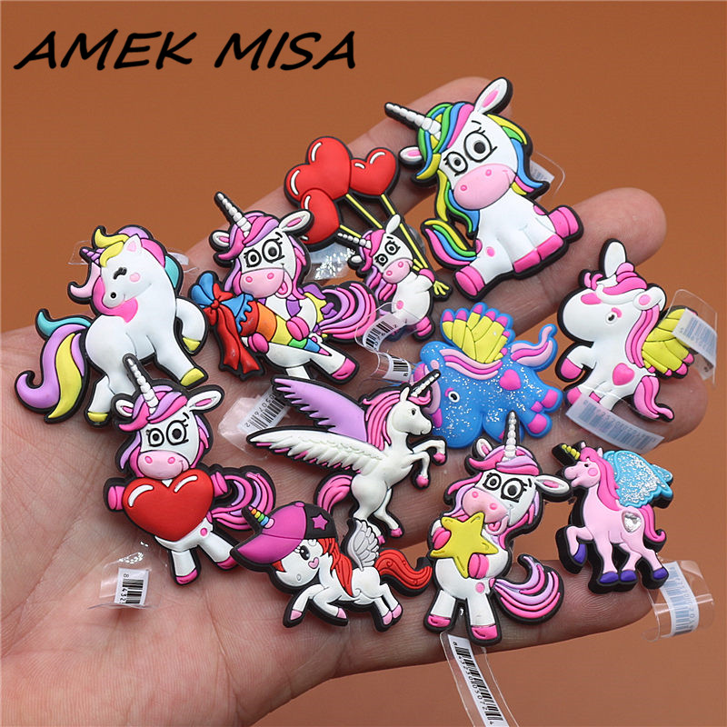 1pcs Unicorn Series High Imitation Shoe Charms Cute Cartoon Decorations Decor Buckles Accessories Fit For Croc JIBZ Kids Gift U5