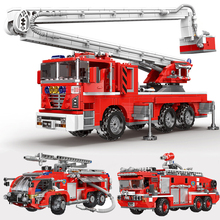 Fire Fighting Rescue Trucks Car DIY Building Blocks City Fire Engine Vehicle Model Blocks Firefighter Bricks Toys For Kids Gifts large size 90pcs fire station fire engine model building blocks bricks fireman figure kids educational toys compatible duploe