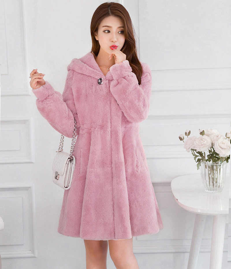 Lange Faux Fur Jas Vrouwen Herfst Winter Jas Vrouwen Imitatie Konijnenbont Jassen Vrouwelijke Jas Hooded Abrigo Mujer KJ887