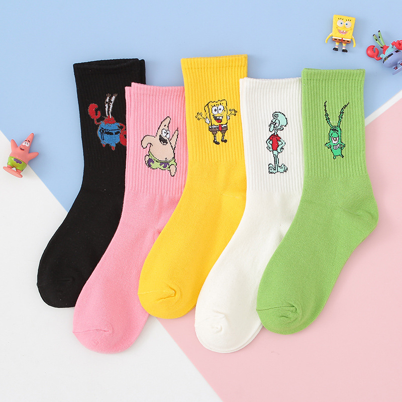 Anime Sponge Baby Print Sock Patrick Star Captain Eugene H Armor Abs Krabs Squidward Tentacles Women Cotton Sock Cartoon Casual