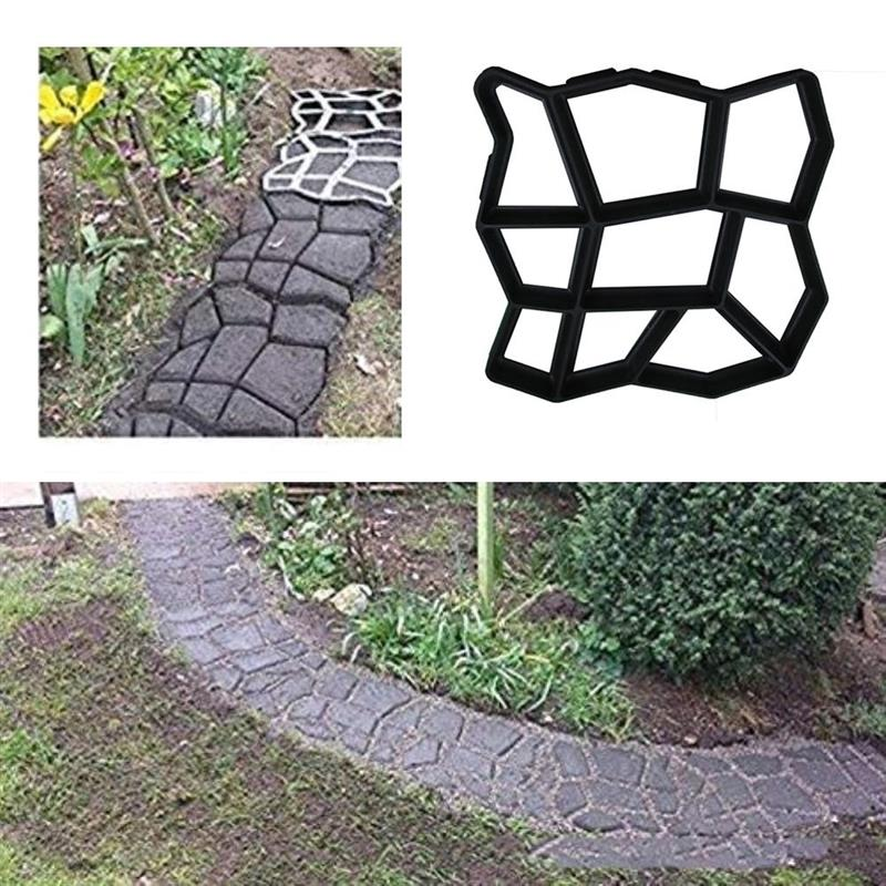 Concrete Molds Garden Floor Diy Paving Mould Home Garden Path Maker Manually Cement Brick Stepping Driveway Stone Road Mold Tool