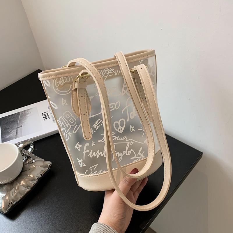 Klar Tote Tasche Kristall PVC Frauen Handtasche Schulter Mode Transparent Strand