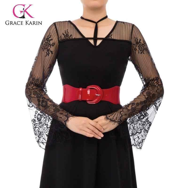 גרייס קארין נשים של עור מפוצל אבזם נמתח אלסטי מותניים חגורה גברת פשוט חגורות החגורה מזדמן חדש אופנה נשים Waistbelt