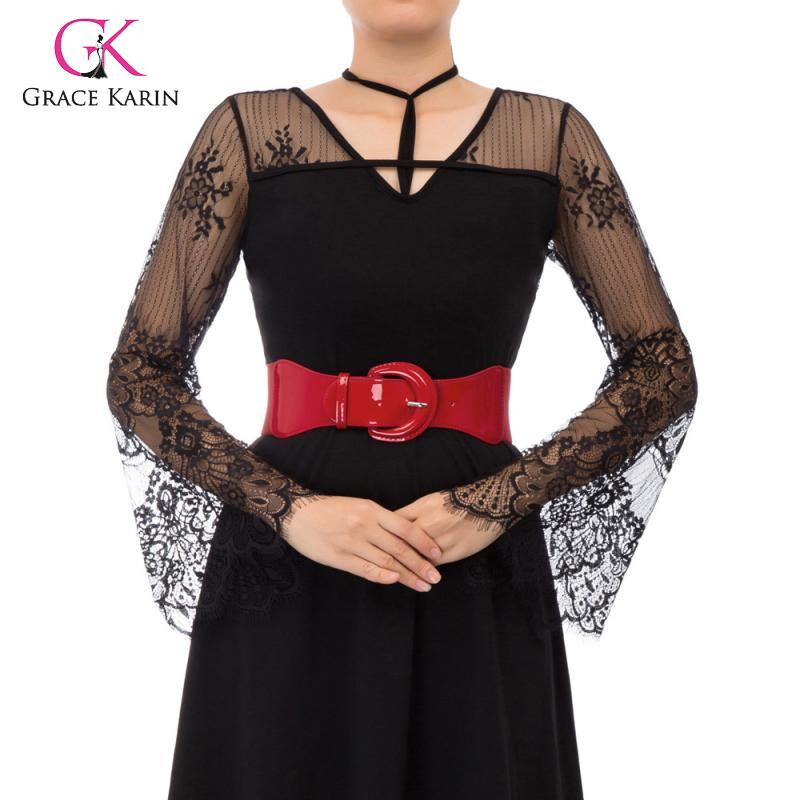 Grace Karin Women's PU Leather Buckle Stretchy Elastic Waist Belt Lady Simple Belts Casual Waistband New Fashion Women Waistbelt