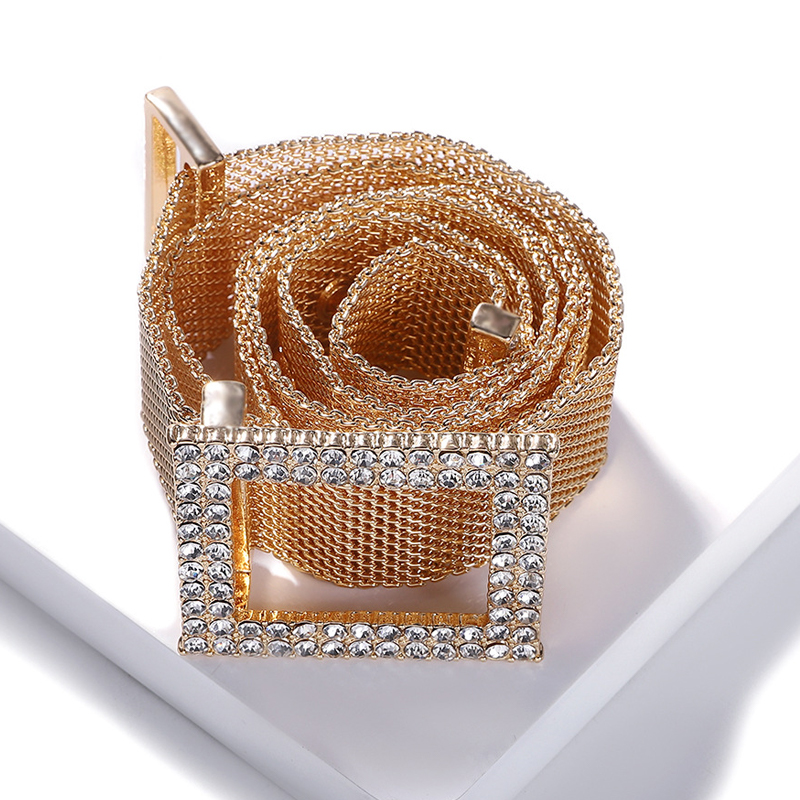 Women Chain Rhinestone Belts Shiny Diamond Gold Silver Waist Metal Belt Waistband Luxury Brand Designer Ceinture Strass Femme
