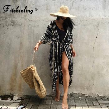Fitshinling lato Vintage Kimono stroje kąpielowe Halo barwienie okrycie plażowe z szarfami długi oversize Cardigan Holiday Sexy Covers tanie i dobre opinie Drukuj W stylistyce młodzieżowej ARTYSTYCZNY COTTON CN (pochodzenie) Dla osób w wieku 18-35 lat Dobrze pasuje do rozmiaru wybierz swój normalny rozmiar