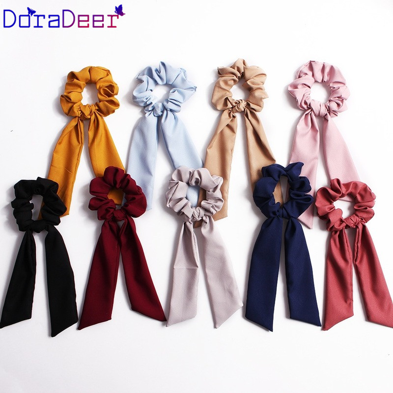 DoraDeer Elegant Ponytail Elastic Hair Rope Women Hair Bow Ties Scrunchies Hair Bands Solid Ribbon Hairbands Hair Accessories