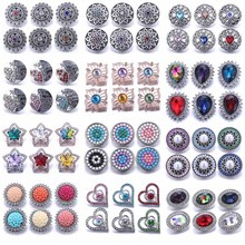 10pcs/lot 2020 New Snap Jewelry Mixed Colorful Rhinestone Crystal 18mm Snap Button Jewelry Fit Snap Bracelet DIY Charms Jewelry 20pcs 50pcs lot kcd4 31 25mm 4pin 16a 250v snap in dpst on off position snap boat rocker switch copper feet