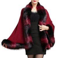 Faux Fox Fur Mixed color Poncho Coat Autumn Winter Fashion Knitted Cardigan Wool Cashmere Sweater Womens Capes and Ponchoes MY27