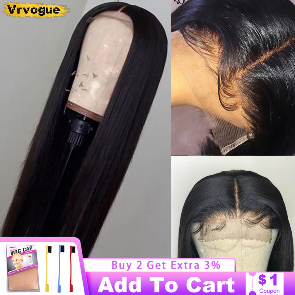 4x4 dantel kapatma peruk düz Perruque Cheveux Humain brezilyalı İnsan saç kapatma peruk ile öncesi koparıp bebek saç 150% Vrovgue