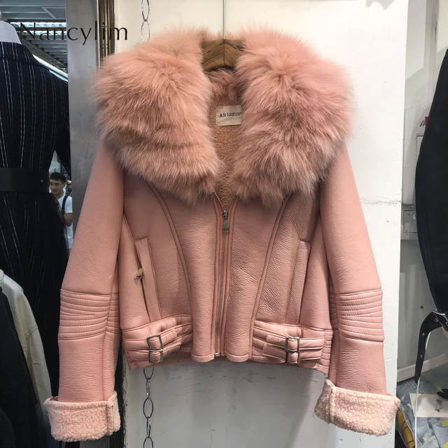 Real Fox Fur Collar Leather Jacket Women New Korean Style Natural Fur Coat Lady Short Imitation Lamb Fur Liner Coat Pu Leather