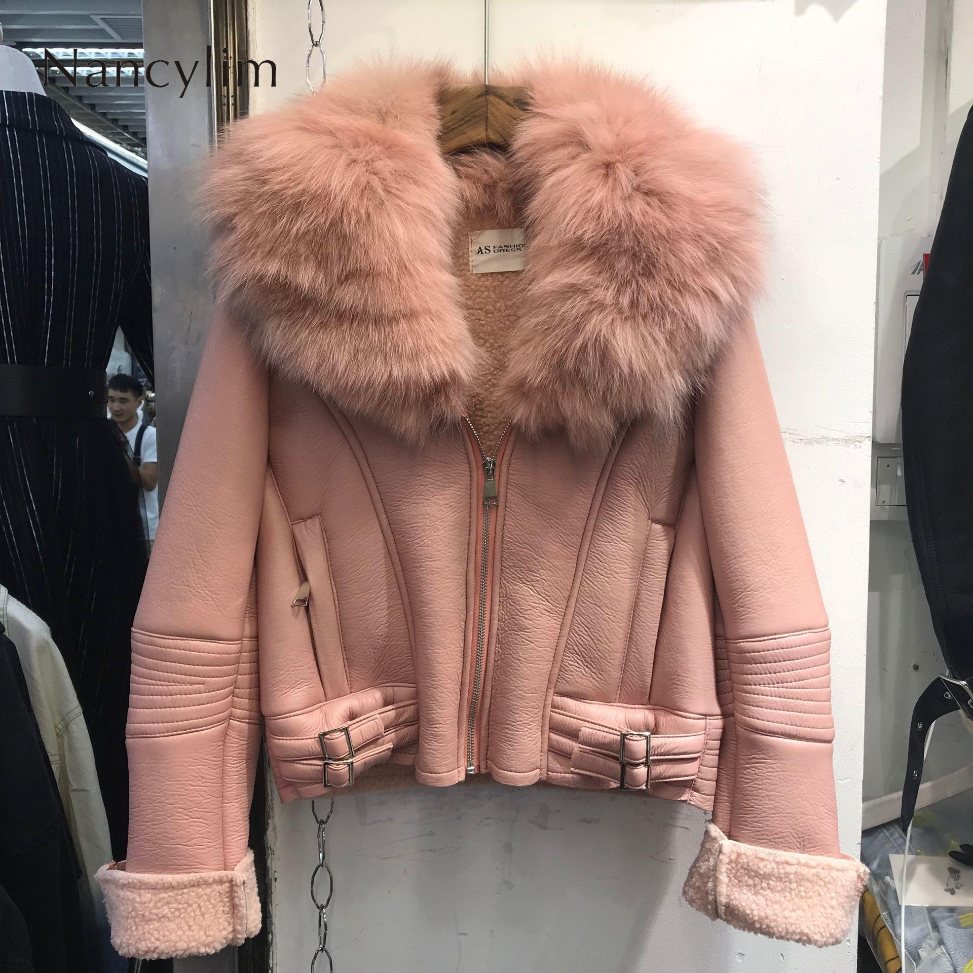 Real Fox Fur Collar   Leather   Jacket Women New Korean Style Natural Fur Coat Lady Short Imitation Lamb Fur Liner Coat Pu   Leather