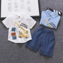 цена на Fashion Children Boys Girls Clothing Suits Summer Baby Cartoon T-Shirt Shorts 2Pcs/Set Toddler Cotton Clothes Infant Tracksuits