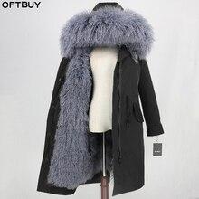 OFTBUY x uzun su geçirmez Parka doğal moğolistan koyun kürk gerçek kürk ceket kış ceket kadınlar sıcak ayrılabilir Streetwear giyim